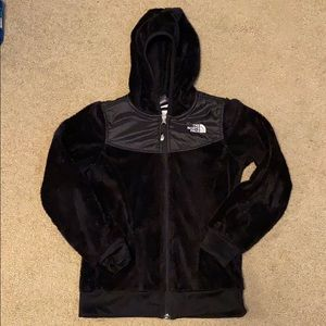 Girls 10/12 black North Face plush hoodie